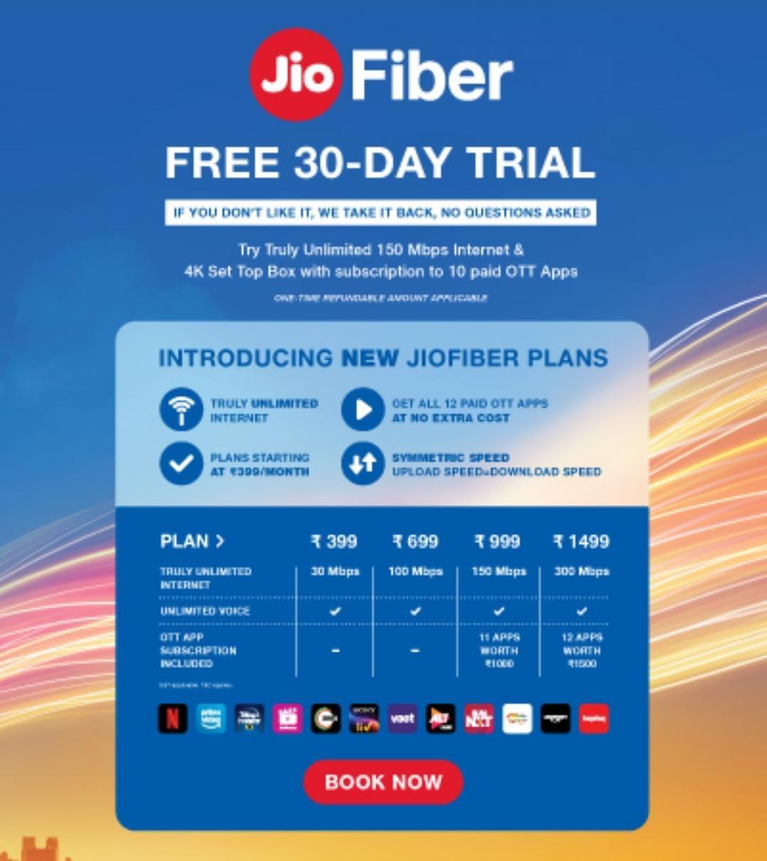jio fiber free 30 dayd trail
